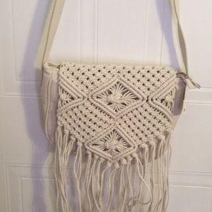 White boho style purse